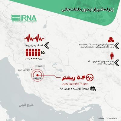 زلزله شیراز؛ بدون تلفات جانی